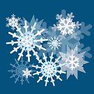 Snowflakes on Blue by Melissa J Barrett