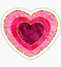 pink fluffy gold trim heart Sticker
