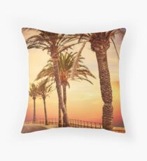 Palm Tree Lined Street Throw Pillow