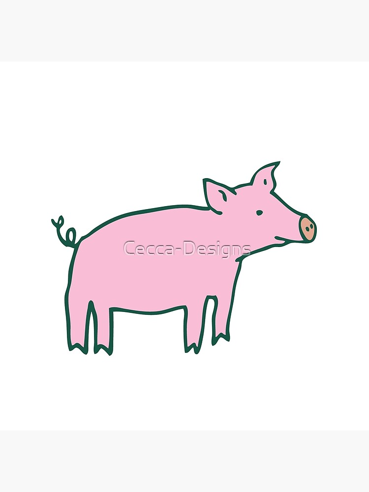 Simple Pig - pink and white - cute animal pattern by Cecca Designs by Cecca-Designs