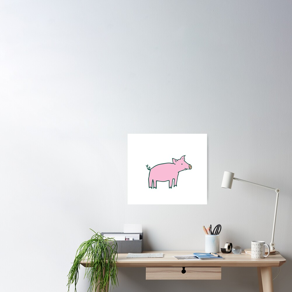 Simple Pig - pink and white - cute animal pattern by Cecca Designs Poster