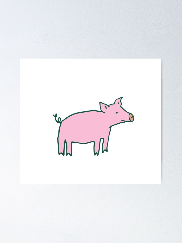 Alternate view of Simple Pig - pink and white - cute animal pattern by Cecca Designs Poster