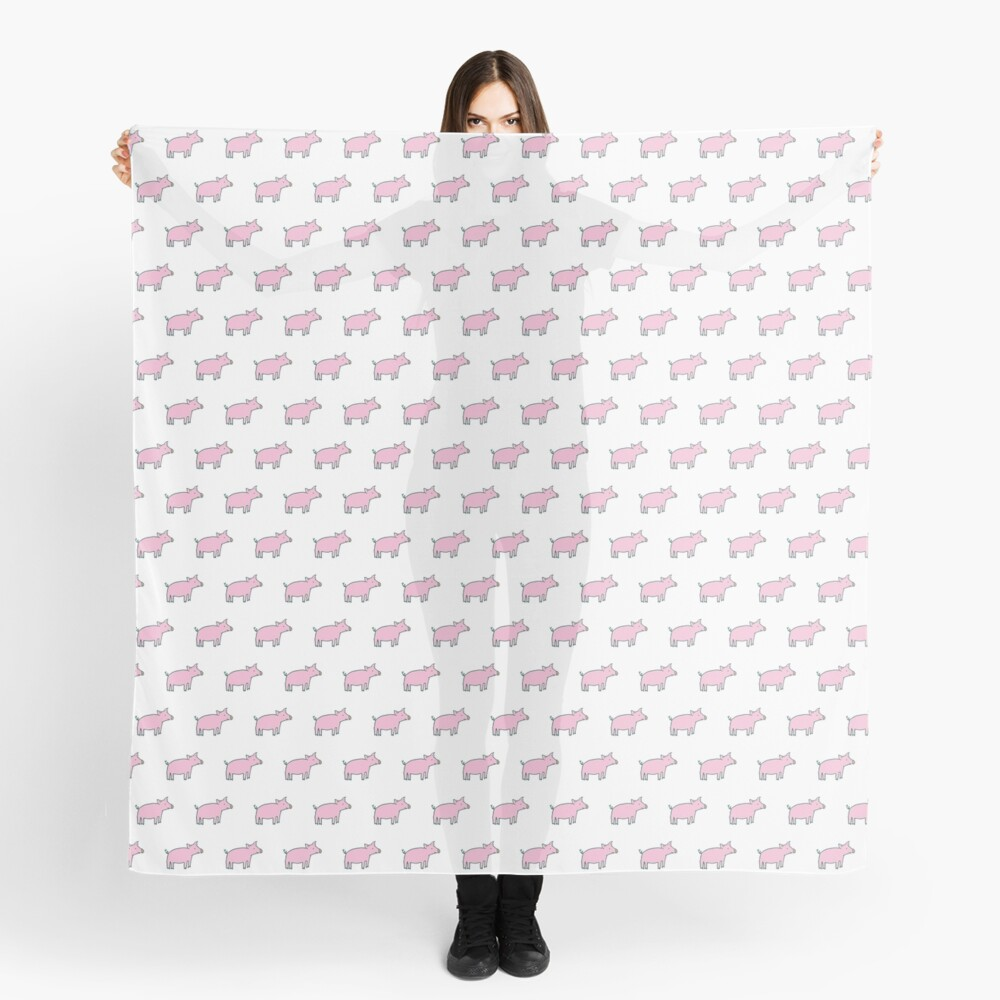 Simple Pig - pink and white - cute animal pattern by Cecca Designs Scarf