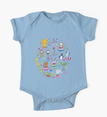 Circus Animal Alphabet - multicoloured on sky blue - Cute animal pattern by Cecca Designs One Piece - Short Sleeve