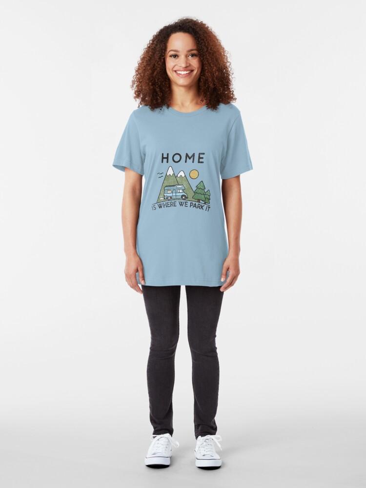 Alternative Ansicht von Camping Home Is Where We Park It Campervan Gift Slim Fit T-Shirt