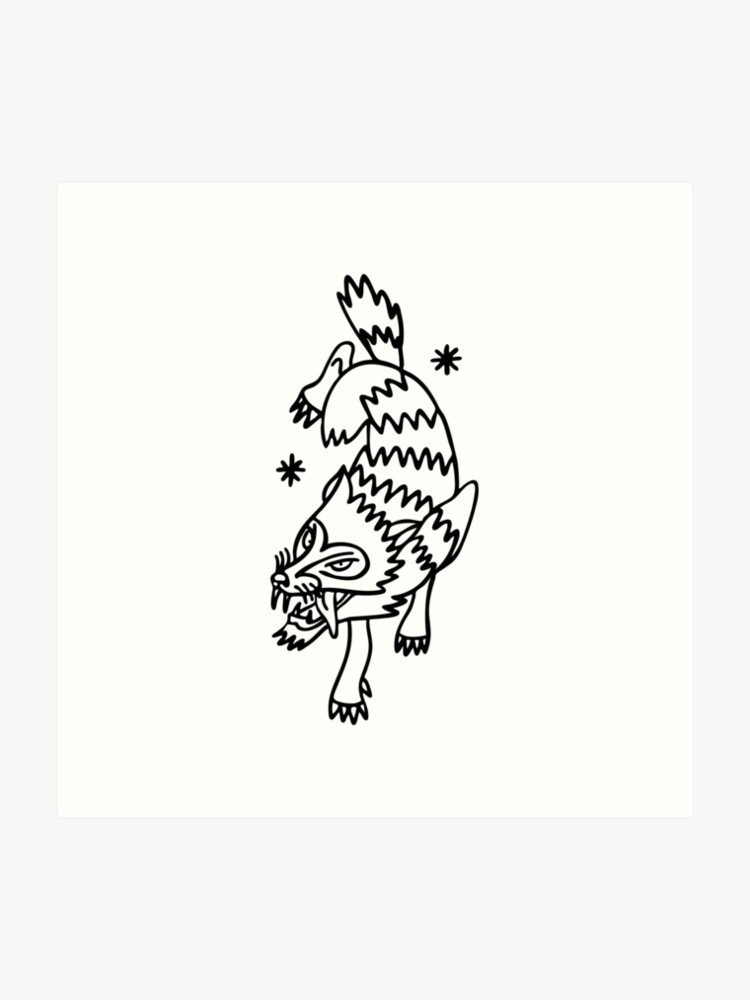 wolf traditional tattoo flash\