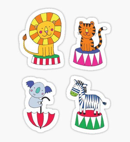 Circus Animals - sunshine yellow - Cute animal pattern by Cecca Designs Sticker