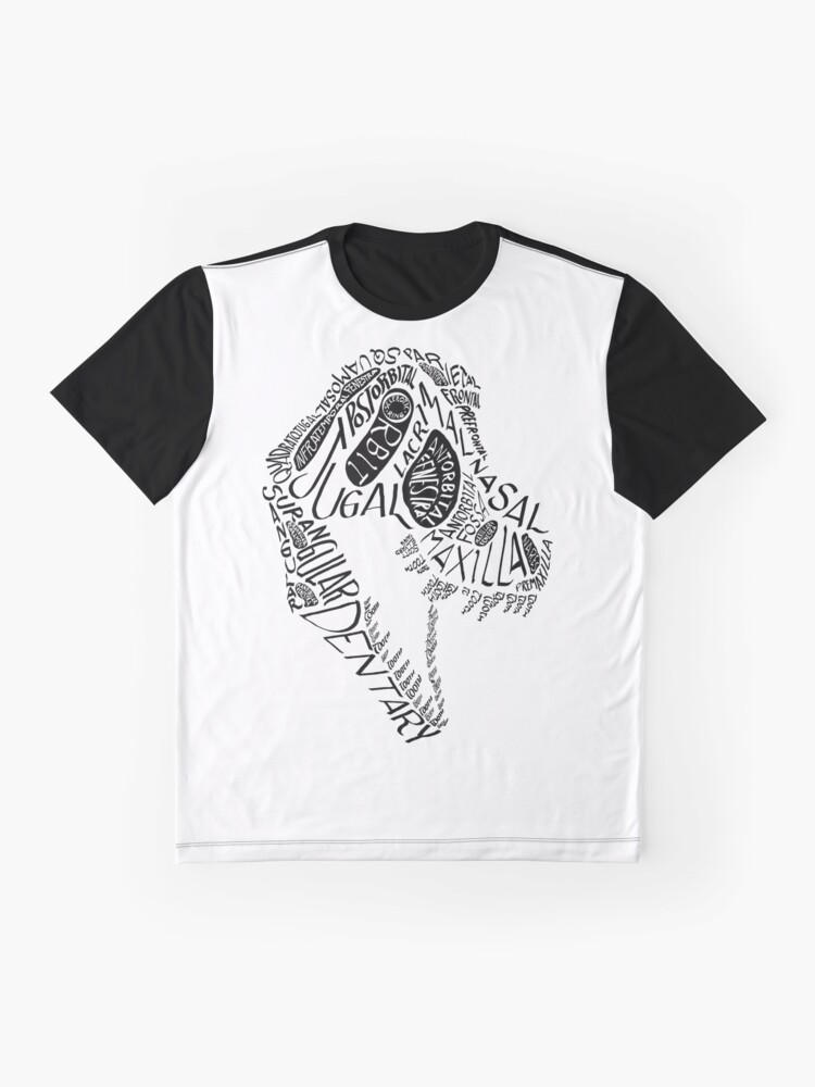 Alternate view of Black Calligram Tyrannosaur Skull Graphic T-Shirt