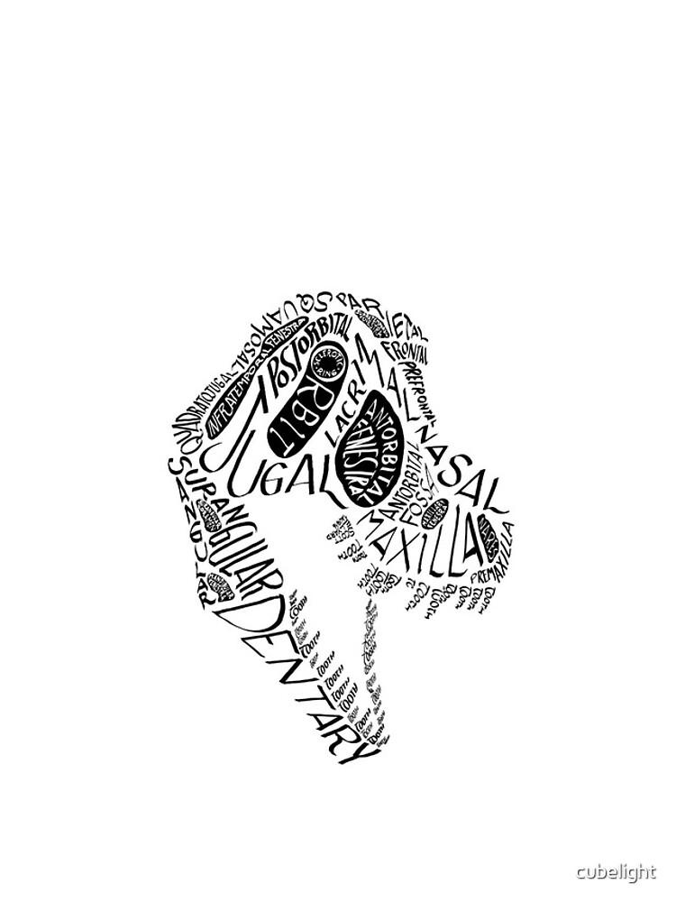 Black Calligram Tyrannosaur Skull by cubelight