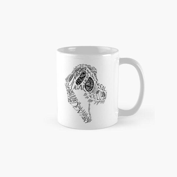 Black Calligram Tyrannosaur Skull Classic Mug
