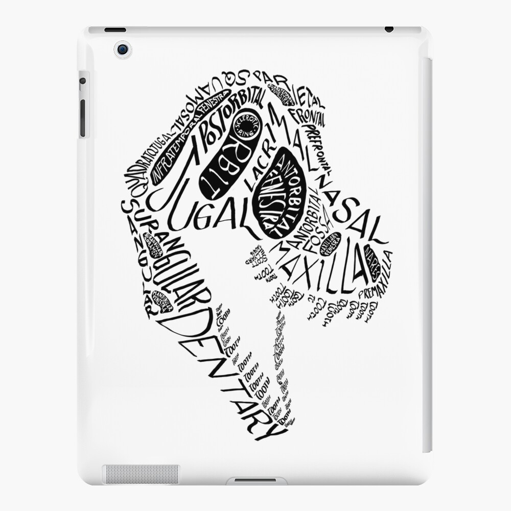 Black Calligram Tyrannosaur Skull iPad Case & Skin