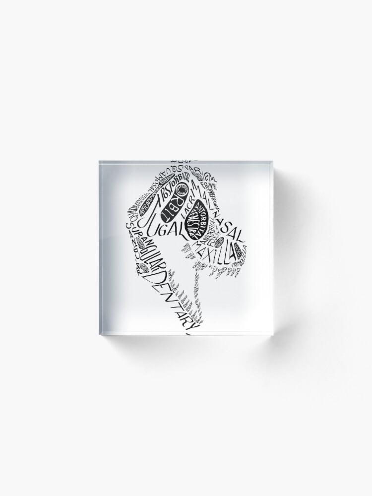 Alternate view of Black Calligram Tyrannosaur Skull Acrylic Block