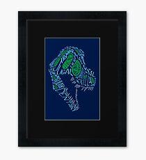 Analogous Colors Calligram Tyrannosaur Skull Framed Print