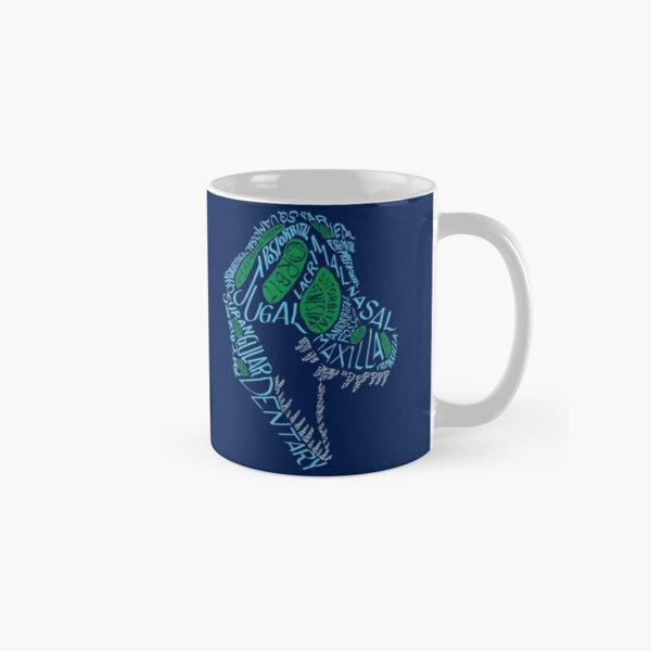 Analogous Colors Calligram Tyrannosaur Skull Classic Mug