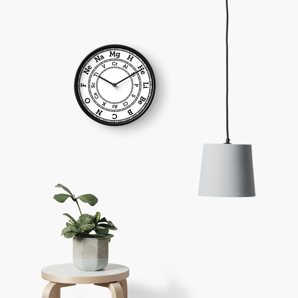 Chemical Elements Clock – Grey Clock