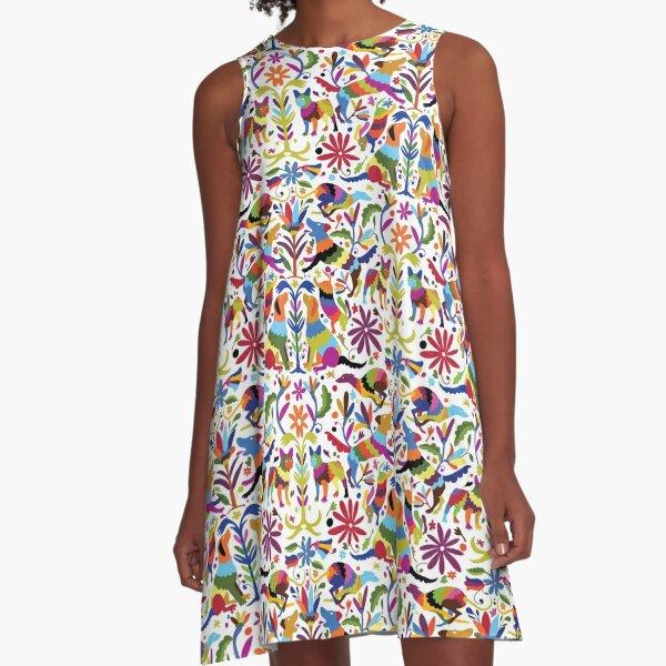 Multicolor Dog Otomi Print A-Line Dress