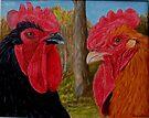 Roosters by Karen Ilari