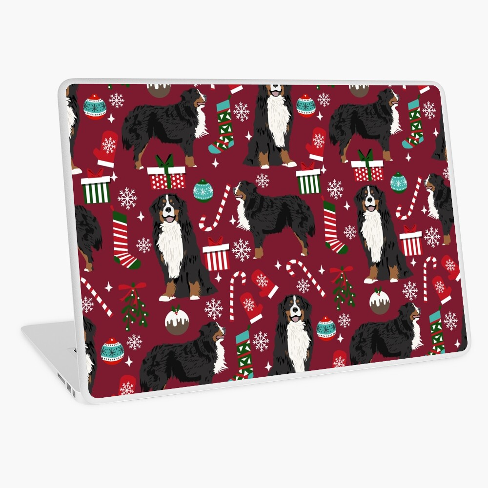 Bernese Mountain Dog christmas dog breed gifts mittens stockings presents candy canes Laptop Skin