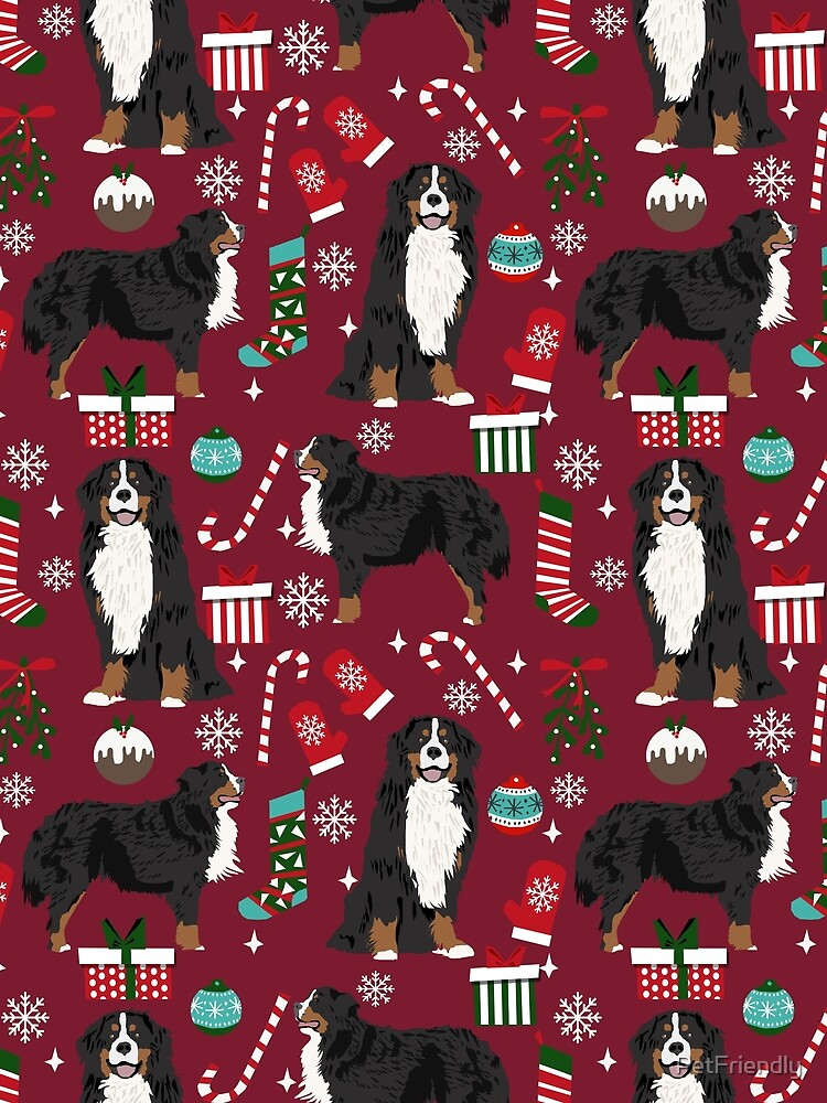Bernese Mountain Dog christmas dog breed gifts mittens stockings presents candy canes by PetFriendly