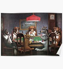 Póster Perros jugando al poker - un amigo en necesidad
