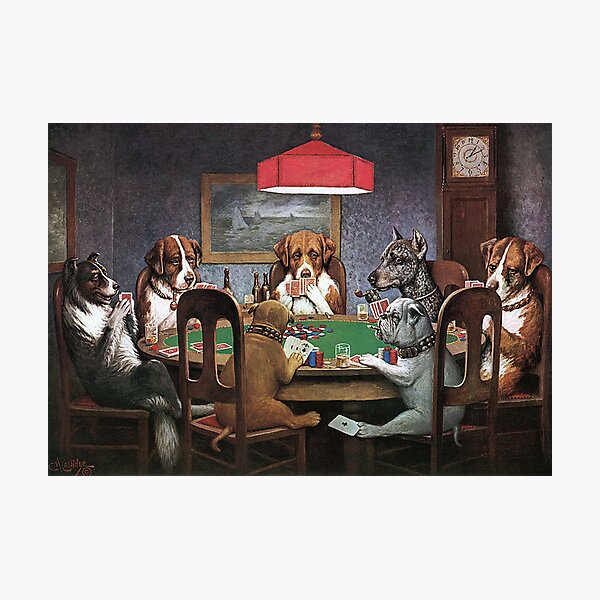 Dogs Playing Poker - A Friend In Need Photographic Print
