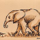 Baby Elephant's Little Buddy: Elephant Watercolor Painting #4 by Rebecca Rees