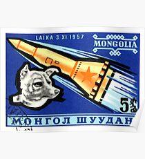 1963 Mongolei Laika erster Hund im Weltraum Briefmarke Poster
