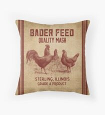 Burlap Vintage Like Chicken Feed Sack Throw Pillow