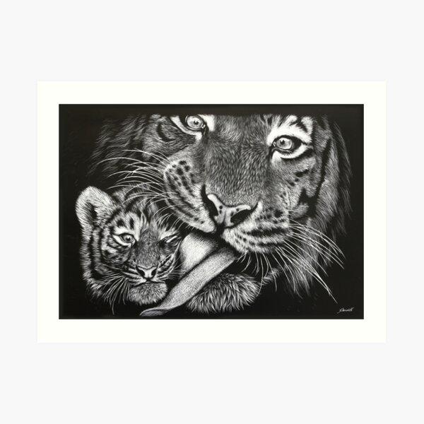 Tiger Mother and Cub Art Print