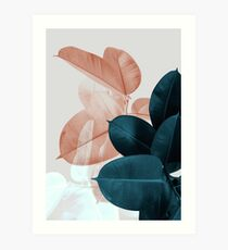 Blush Pink Plant Leaves, Botanical Leaf Art Print