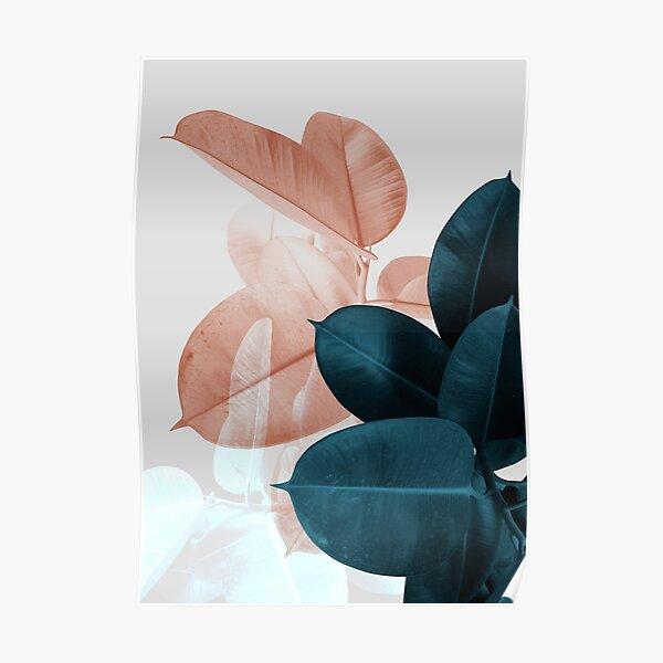 Blush Pink Plant Leaves, Botanical Leaf Poster