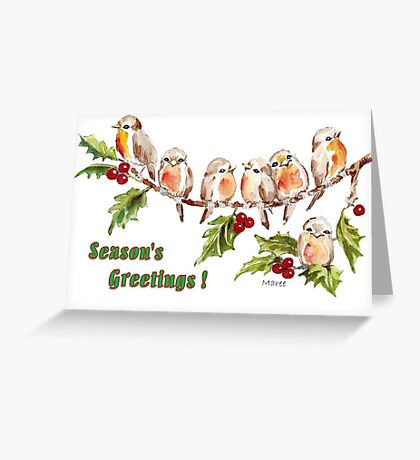 Season's Greetings!  7 Little Birds Greeting Card