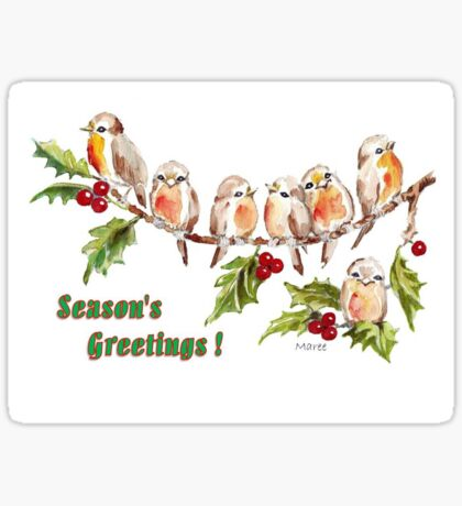 Season's Greetings!  7 Little Birds Sticker
