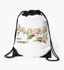 Season's Greetings!  7 Little Birds Drawstring Bag