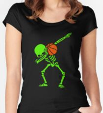 Halloween Dabbing Skeleton BASKETBALL T-Shirt Skeleton Dab Women's Fitted Scoop T-Shirt