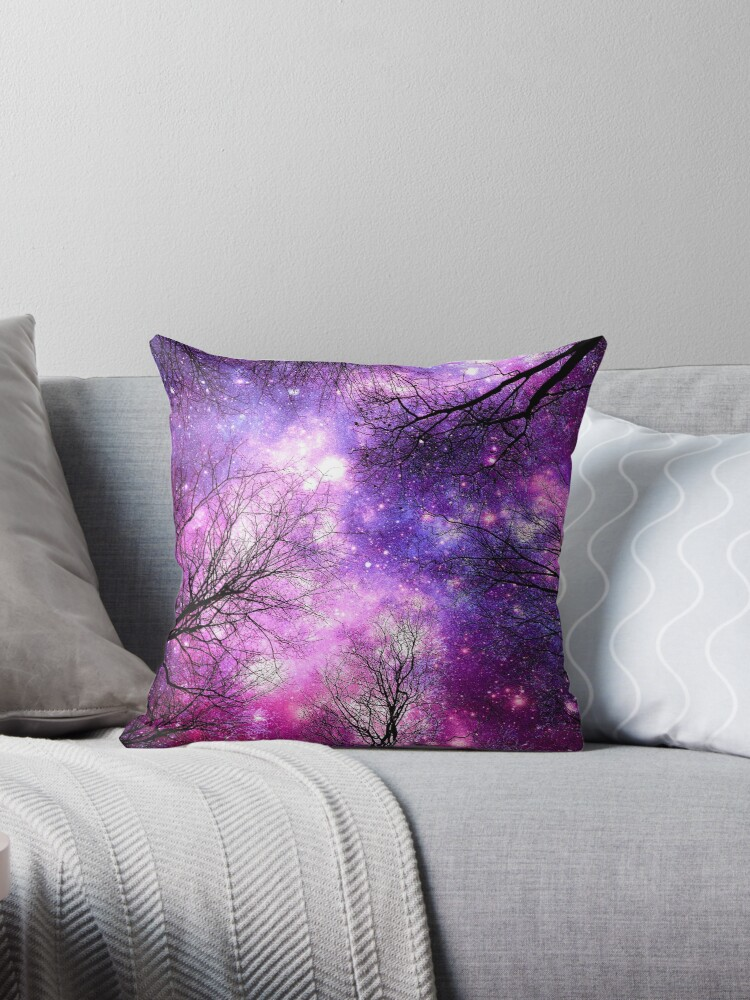 Black Trees Fuchsia Purple Pink Space by 2sweetsDesign