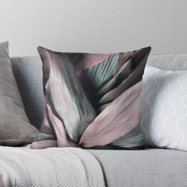 Pink Bohemian Metallic Leaves Throw Pillow
