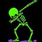 Halloween Tupfen Skelett SKATEBOARD T-Shirt Tupfen Skate GLOW von vomaria