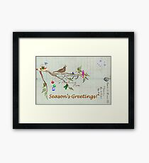 Season's Greetings - Birds Singing With Joy Framed Print