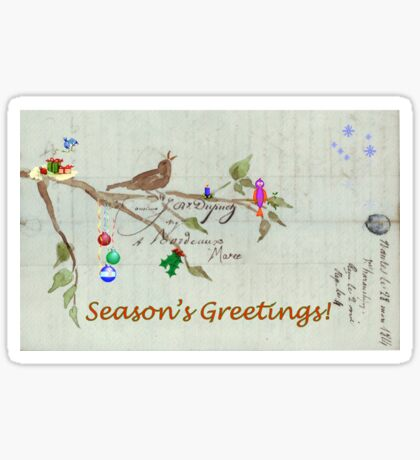 Season's Greetings - Birds Singing With Joy Sticker