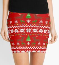 Red Smooth Haired Dachshund Christmas Antlers Mini Skirt