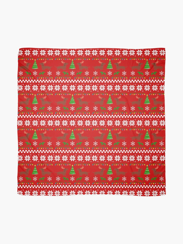 Alternate view of Red Smooth Haired Dachshund Christmas Antlers Scarf