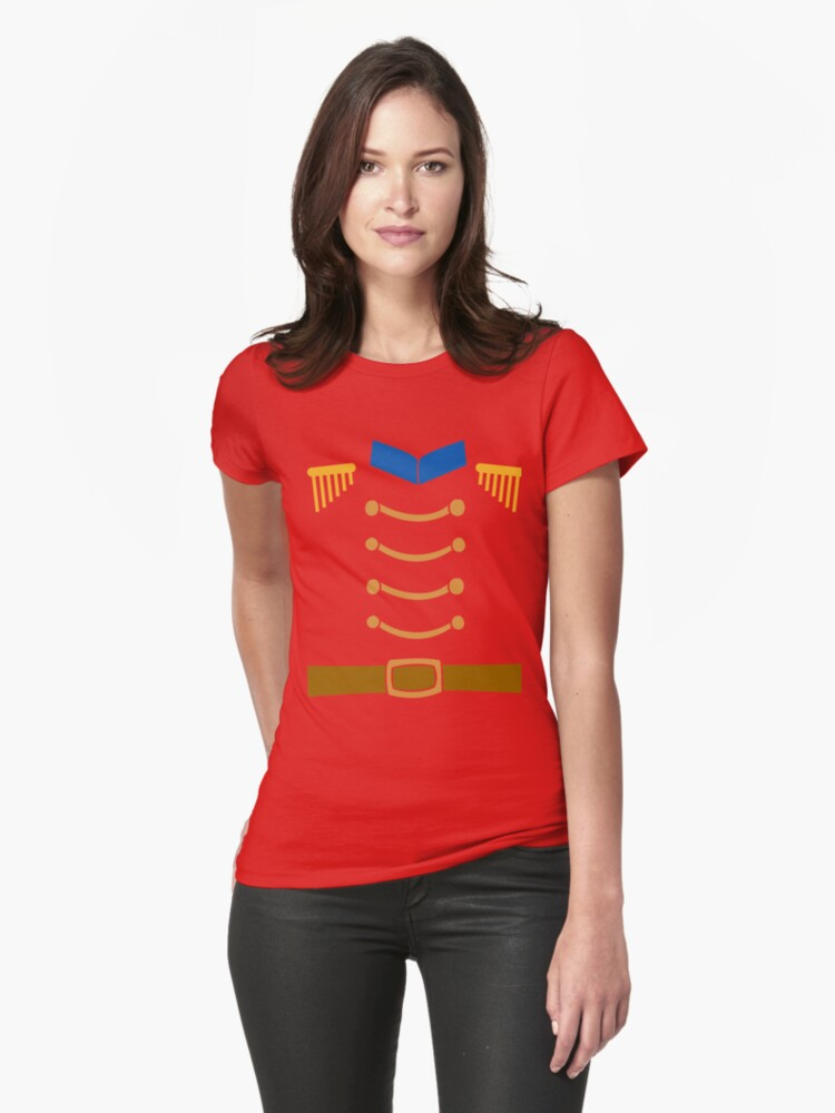 Nutcracker Costume Funny Christmas Toy Soldier Uniform Womens T-Shirt Front