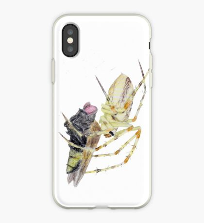 Spider caught a fly iPhone Case
