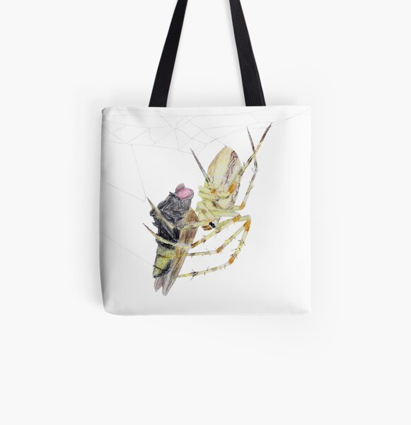 Spider caught a fly All Over Print Tote Bag
