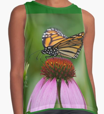 softly landing on an echinacea flower Contrast Tank