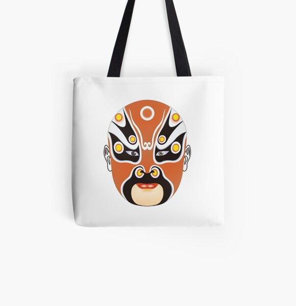 Peking Opera Head Colorful Chengyaojin Handbag Craft Poker Spade Canvas Bag Shopping Tote
