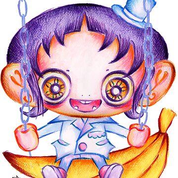 Kawaii Monkey Banana Boy by AyaMasuda