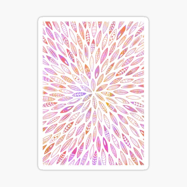 Pink leaves, feathers, shells and seeds Sticker
