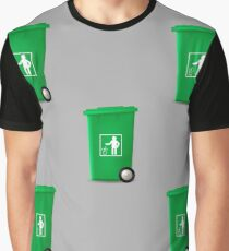 Plastic Green Trashcan Seamless Pattern on Grey Background Graphic T-Shirt